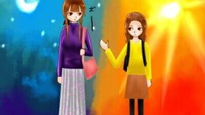 【4コマ】姉妹でも性格は正反対な話